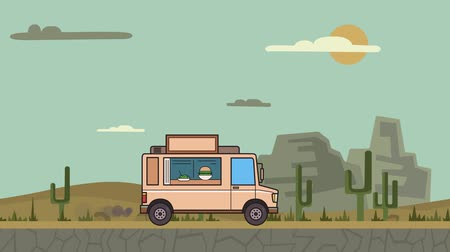 Animated food truck riding through canyon desert. Moving vehicle on landscape background. Flat animation Stock Footage