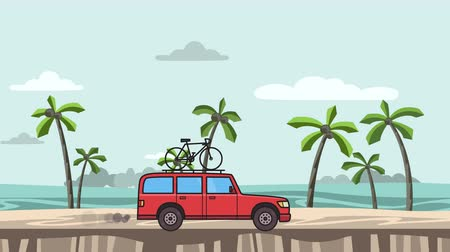 Animated red SUV car with bicycle on the roof trunk riding on the beach. Moving minivan, on seascape side view. Flat animation. Isolated on white background Stock Footage