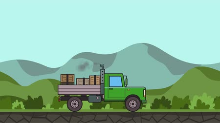Animated green truck with boxes in the trunk riding through green valley. Moving heavy car on rural landscape background. Flat animation Stock Footage