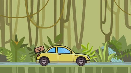 Animated coupe car with luggage on the rear hood riding through rainforest. Moving hatchback on jungle and river background. Flat animation Stock Footage