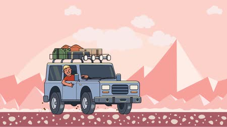 Animated car with luggage on the roof and smiling guy behind the wheel riding through the desert. Moving vehicle on peaky mountain landscape background. Flat animation