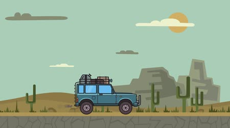 Animated SUV car with luggage on the roof trunk riding through canyon desert. Moving off-road vehicle on desert landscape, side view. Flat animation Stock Footage