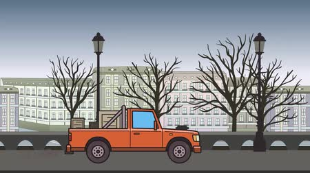 Animated pickup truck with boxes in the trunk riding through autumn city. Moving delivery car on city park background. Flat animation