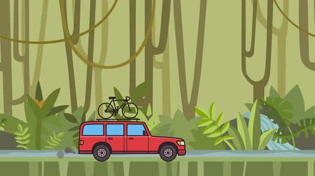 Animated red SUV car with bicycle on the roof trunk riding through rainforest. Moving minivan on jungle and river background. Flat animation