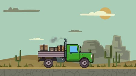 Animated green truck with boxes in the trunk riding through canyon desert. Moving heavy car on mountain desert background. Flat animation