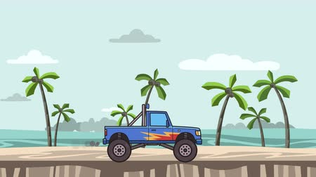 Animated big wheel monster truck on the beach. Moving bigfoot truck on seascape. Flat animation