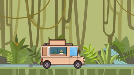 Animated food truck riding through tropical rainforest. Moving vehicle on jungle river background. Flat animation
