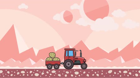 Animated tractor with trolley full of hay riding through pink mountain desert background. Moving farm vehicle on extraterrestrial background. Flat animation Stock Footage