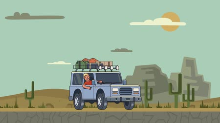 к юго западу : Animated car with luggage on the roof and smiling guy behind the wheel riding through the canyon desert. Moving vehicle on mountain landscape background. Flat animation