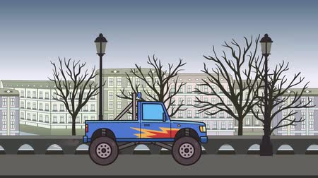 Animated big wheel monster truck riding through autumn city. Moving bigfoot truck on city park background. Flat animation
