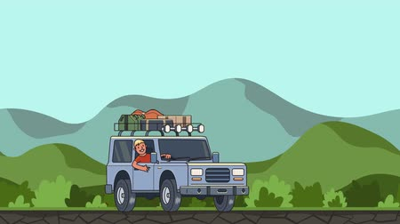 Animated car with luggage on the roof and smiling guy behind the wheel riding through green valley. Moving vehicle on hilly landscape background. Flat animation Stock Footage