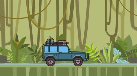 Animated SUV car with luggage on the roof trunk riding through the rainforest. Moving off-road vehicle on jungle forest background. Flat animation