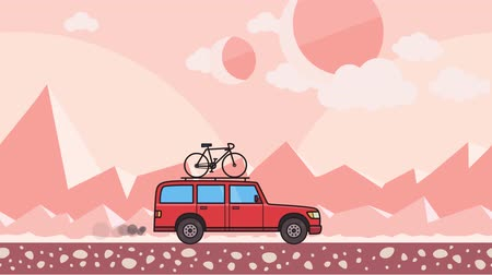 Animated red SUV car with bicycle on the roof trunk riding through pink mountain desert background. Moving minivan on extraterrestrial background. Flat animation Stock Footage