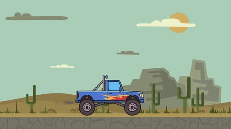 Animated big wheel monster truck riding through canyon desert. Moving bigfoot truck on mountain desert background. Flat animation