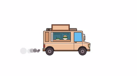 Animated beige food truck, side view. Flat animation. Isolated on white background Stock Footage