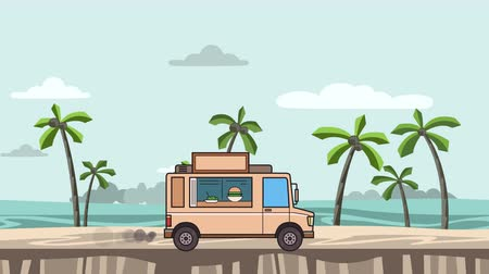 Animated food truck riding on the beach. Moving vehicle on seascape, side view. Flat animation Stock Footage
