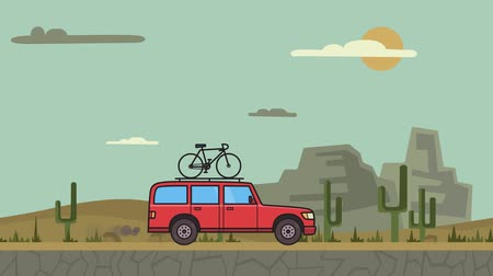 Animated red SUV car with bicycle on the roof trunk riding through canyon desert landscape . Moving minivan on background. Flat animation.