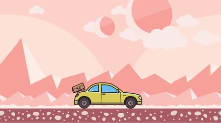 Animated coupe car with luggage on the rear hood riding through extraterrestrial pink desert. Moving hatchback on montain desert background. Flat animation Stock Footage