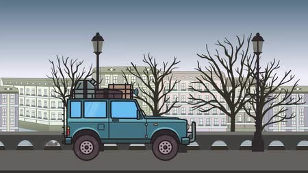 Animated SUV car with luggage on the roof trunk riding through autumn city. Moving off-road vehicle on city park backdround. Flat animation
