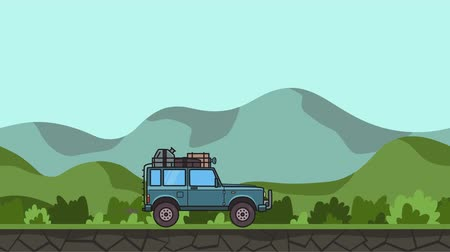 Animated SUV car with luggage on the roof trunk riding through green valley. Moving off-road vehicle on hilly landscape background. Flat animation