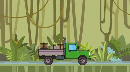 Animated green truck with boxes in the trunk riding through rainforest. Moving heavy car on jungle and river background. Flat animation