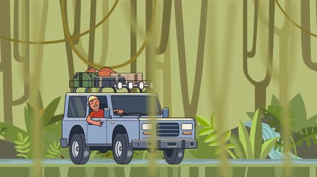 equipped : Animated car with luggage on the roof and smiling guy behind the wheel riding through the rainforest. Moving vehicle on jungle forest background and vines hanging on foreground. Flat animation. Stock Footage