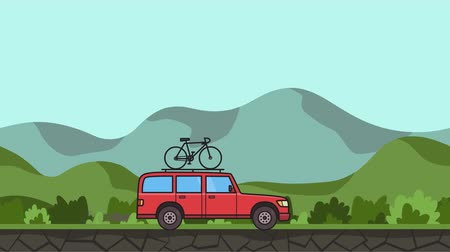 Animated red SUV car with bicycle on the roof trunk riding through gren valley. Moving minivan on hilly landscape background. Flat animation