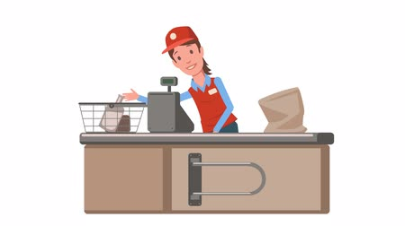 Cashier lady at the supermarket checkout counter. Grocery store saleslady animated. Flat animation. Isolated on white background.