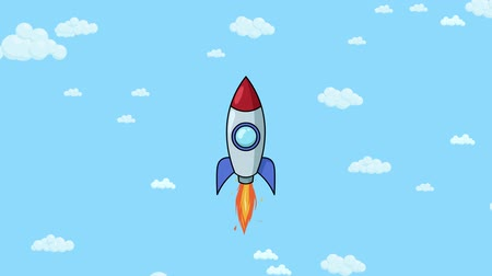 Cartoon rocket ship flying up through cloudy sky. Flat animation.