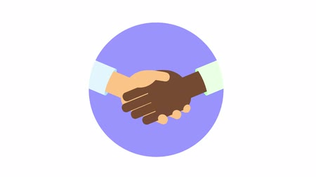 Interracial handshake in the circle. Join hands, greeting, friendship. Flat animation. Isolated on white background. Stock Footage