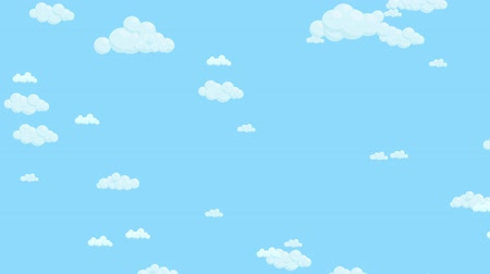 Blue sky full of clouds moving randomly. Cartoon sky animated background. Flat animation.