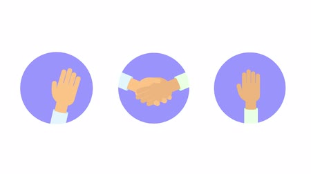Set of hand gestures in the circle. Greeting, handshake, victory sign. Flat animation. Isolated on white background. Stock Footage