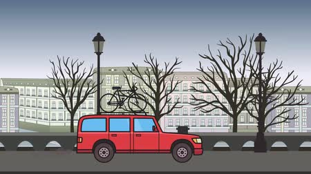 Animated red SUV car with bicycle on the roof trunk riding through autumn city landscape . Moving minivan on city park background. Flat animation Stock Footage