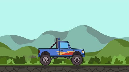 Animated big wheel monster truck riding through green valley. Moving bigfoot truck on hilly landscape background. Flat animation. Stock Footage