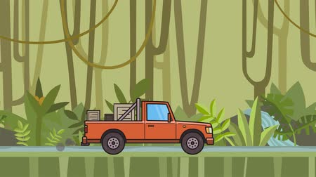 Animated pickup truck with boxes in the trunk riding through green rainforest. Moving delivery car on jungle and river background. Flat animation Stock Footage