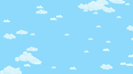 Blue sky full of clouds moving down. Cartoon sky animated background. Flat animation.