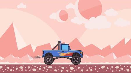 Animated big wheel monster truck riding through alien planet desert. Moving bigfoot truck on pink mountain desert background. Flat animation