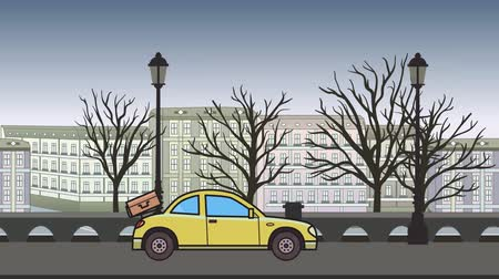 Animated coupe car with luggage on the rear hood riding through autumn city . Moving hatchback on city park background. Flat animation