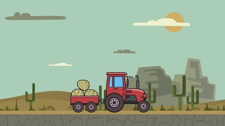 Animated tractor with trolley full of hay riding through canyon desert. Moving farm vehicle on mountain desert background. Flat animation