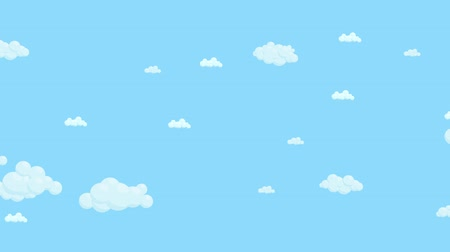 Blue sky full of clouds moving left to right. Cartoon sky animated background. Flat animation.