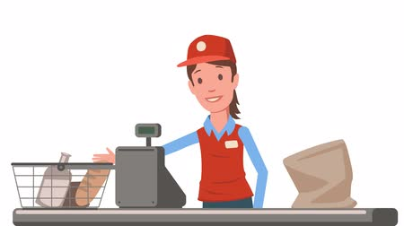 Cashier lady at the supermarket checkout counter. Grocery store saleslady animated close-up. Flat animation. Isolated on white background. Stock Footage