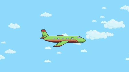 Animated jet airplane flying through blue sky with white clouds. Flat animation.