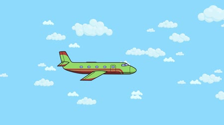 Animated jet airplane flying in and out on blue sky background with white clouds. Flat animation.