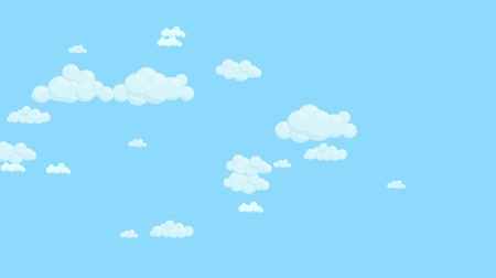 Blue sky full of clouds moving right to left. Cartoon sky animated background. Flat animation. Stock Footage