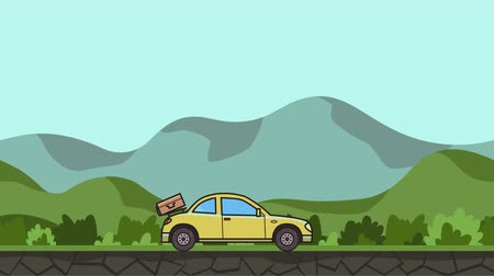 Animated coupe car with luggage on the rear hood riding through green valley . Moving hatchback on rural landscape background. Flat animation