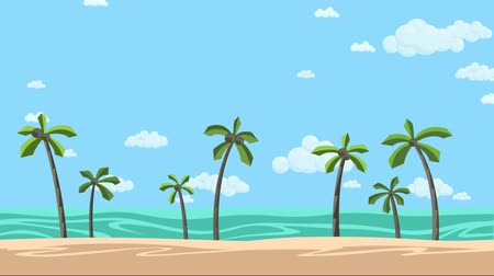 Sunny beach with palms and cloudy skyscape background. Animated background. Flat animation.