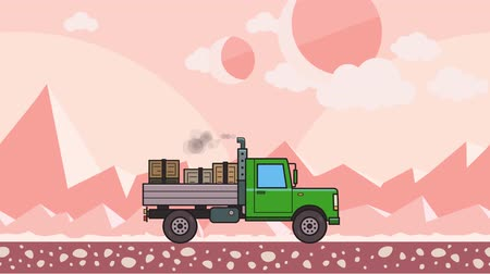 Animated green truck with boxes in the trunk riding through alien planet desert. Moving heavy car on pink mountain desert background. Flat animation