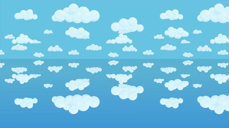 Animated mirrored cloudy sky background. Clouds above the water. Seamless loop animation.
