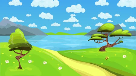 kamilla : Animated fairytale lake landscape with fluffy clouds in the sky. Cartoon landscape background. Seamless loop flat animation.