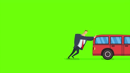 Man pushing and running after broken car. Flat animation, isolated on green background.